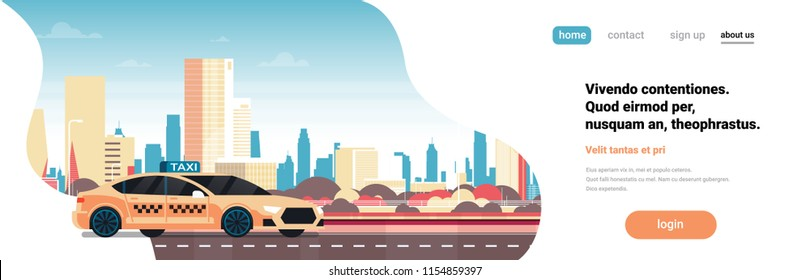 Yellow taxi car service cab road over modern cityscape background horizontal banner flat copy space vector illustration