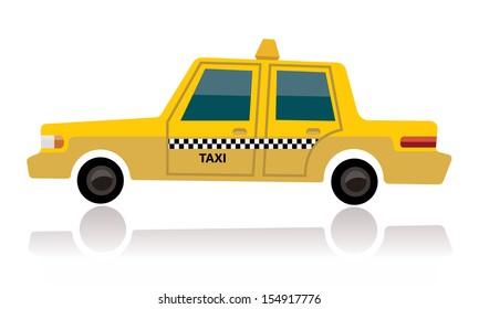 yellow taxi, cartoon concept