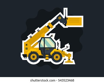 Yellow telehandler. Special equipment. The object circled white outline on a dark background. Construction machine. Commercial Vehicles. Vector illustration. Flat style