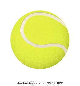 Yellow tennis ball. Vector 3d illustration isolated on white background