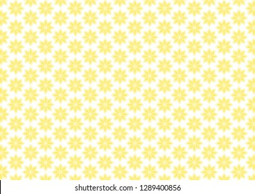 Yellow texture. Symmetrical pattern with simple flowers (lotos). Decorative collored background. Vector eps 10