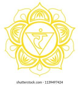 Yellow third chakra, the energy center of man.
