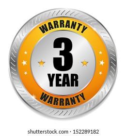 Yellow three year warranty button
