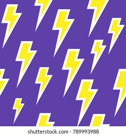 Yellow thunder bolt with white strokes pattern. Purple lightning background.