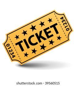 Yellow ticket. Vector illustration.