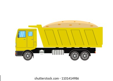 Yellow Tipper Truck Side View,sand in the back of a truck,isolated on white background,flat vector illustration