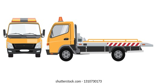 Yellow tow truck with front and side view. Flat vector with solid color design.