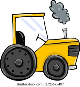 Yellow tractor, illustration, vector on white background