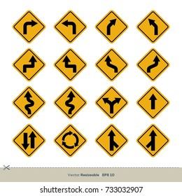 Yellow Traffic Sign Vector Set