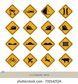Yellow Traffic Sign Vector Set