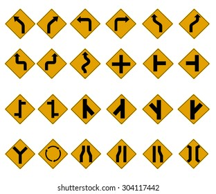 Yellow Traffic Signs icon set. vector