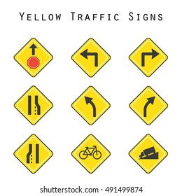 yellow traffic signs vector