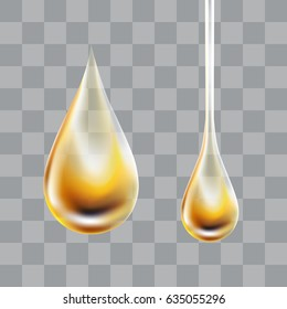 Yellow transparent oil droplet. Realistic vector illustration.