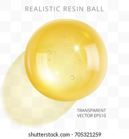Yellow transparent resin ball. Vector 3d realistic bead of epoxy artificial amber, and even  drop of wine, beer, juice, honey, oil. Closeup golden gem with a light shadow on a checkered background.