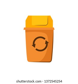 Yellow trashcan with lid. Container for garbage with recycling sign.