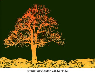 yellow tree on land vector