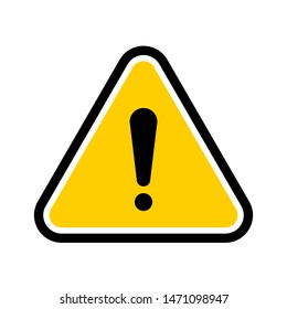 Yellow triangular hazard warning symbol. Vector danger icon and sign of warn for use on web, typography, app, interface design, on the road and construction.