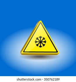 Yellow triangular sign.The yellow triangle sign. Caution slippery road.
