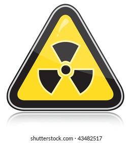 Yellow triangular warning sign of radiation hazards