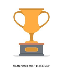 Yellow trophy cup or goblet. Sport game champion award. Idea of victory and success. Isolated flat vector illustration