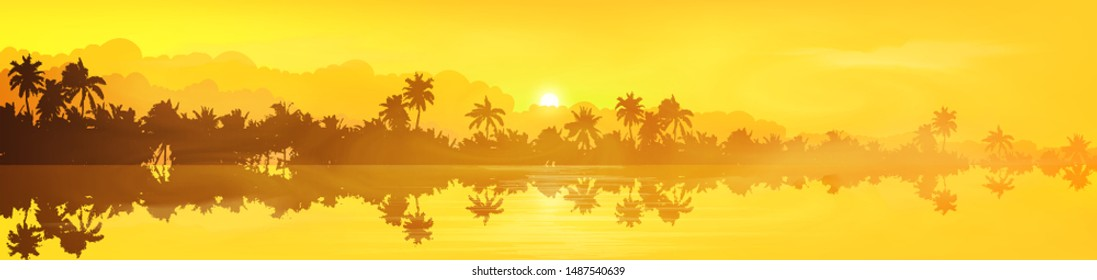 Yellow tropical island with palm trees silhouettes sunset or sunrise view in fog and clouds, vector banner illustration