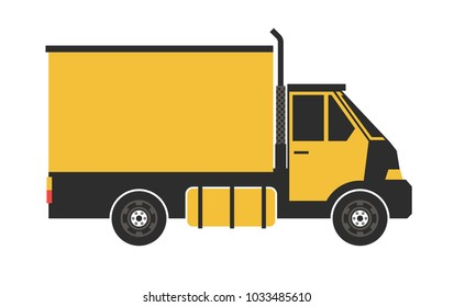 Yellow truck isolated on white.