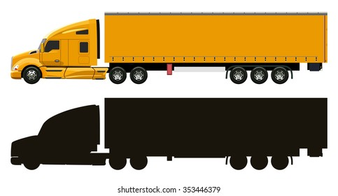Yellow truck with a trailer on a white background
