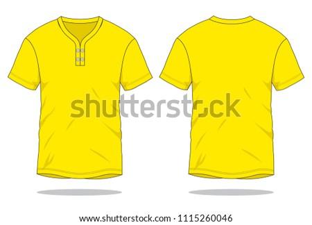 Yellow T Shirt For Template Kiwi Collar