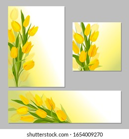 Yellow tulips. Tulips beautiful background. Set of spring cards for design. Background for your design, decor. Vector image