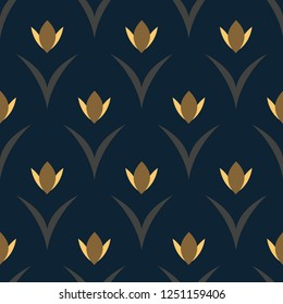 Yellow tulips on a navy blue floral arc pattern. Simple geometric allover motif. Hygge print for high fashion fabric, textile. Retro seamless ornament. Folk flowers and leaves vector minimal design.