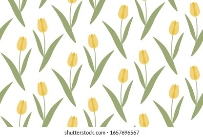 Yellow tulips on a white background vector seamless pattern.