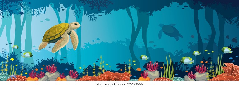 Yellow turtle, colorful coral reef, fishes and underwater cave on a blue sea. Ocean wildlife. Nature panoramic vector illustration.