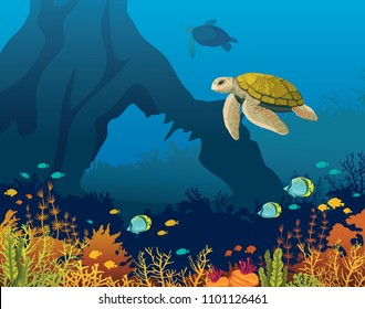 Yellow turtle and coral reef with fishes and underwater arch on a blue sea. Underwater marine life. Vector illustration.