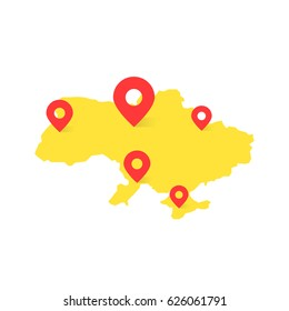 yellow ukraine map with red pin on white background. concept of tour of eastern europe or finding the right places. flat style trend modern logo graphic area design