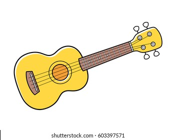 Yellow ukulele isolated.