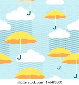 Yellow umbrellas in the rainy sky seamless pattern