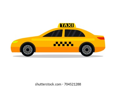 Yellow urban taxi cab isolated on white background.