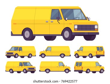 Yellow van set. Road vehicle used for transporting goods, medium-sized motor delivery truck for commercial service, business needs. Vector flat style cartoon illustration isolated on white background