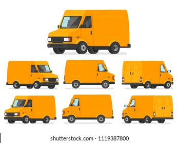 Yellow van set. Truck for transportation of goods. Vehicle for delivery, shown from different sides. Vector illustration in cartoon style