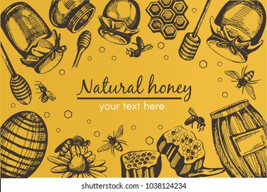 Yellow vector background with black honey hand drawn items (hive, honey bank, bee, honeycomb, pollen, flower)