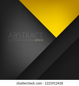 Yellow vector background triangle and geometric element with black space overlap layer for background design