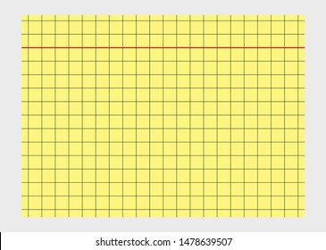 A yellow vector based flash card with checkered lines and a red border.