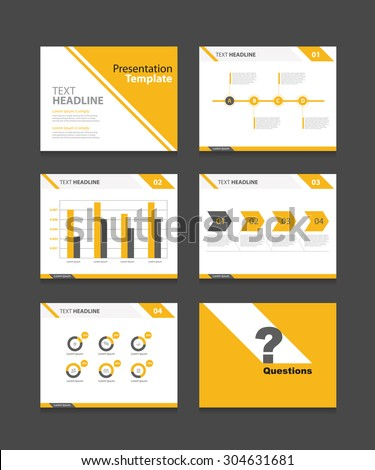 yellow vector business presentation slides template のベクター画像