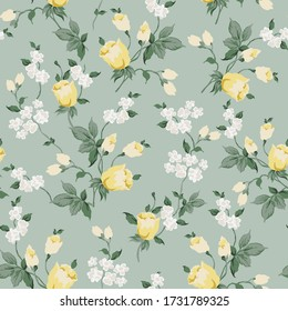 yellow vector flowers with green leaves pattern on green background
