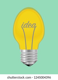 """Yellow vector illustrative lamp with """"idea"""" printed"""