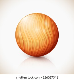 Yellow vector isolated wooden ball with reflection and shadow