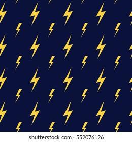 Yellow vector lightning dark blue seamless pattern. Yellow lightning decoration illustration.