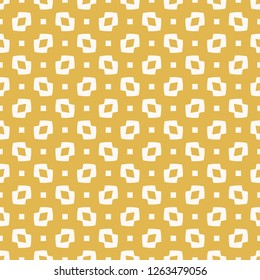 Yellow vector minimalist seamless pattern. Abstract geometric texture with small figures, squares, dots, rhombuses, curves shapes. Simple minimal colorful background. Repeat design for decor, fabric