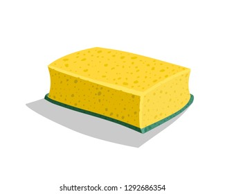 Yellow vector sponge for washing dishes on a white background