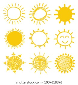 Yellow vector sun doodles collection
